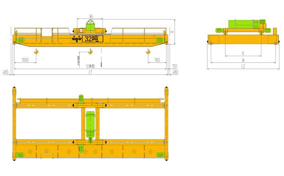 32吨双梁起重机主要性能及技术参数